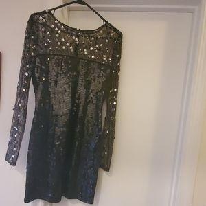 Mirrored sheer sleeves sequin dress